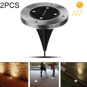 2 PCS 4 LEDs IP44 Waterproof Solar Powered Buried Light, SMD 5050 White Light Under Ground Lamp Outdoor Path Way Garden Decking LED Light