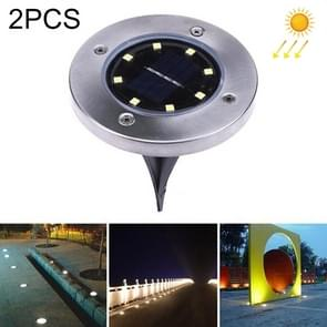 2 PCS 8 LEDs IP44 Waterproof Solar Powered Buried Light, SMD 5050 White Light Under Ground Lamp Outdoor Path Way Garden Decking LED Light