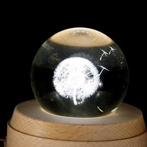 3D Word Engraving Crystal Ball Dandelion Pattern Electronic Swivel Musical Birthday Gift Home Decor without Music
