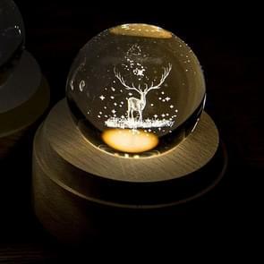 3D Word gravure kristallen bol kerst herten patroon elektronische Swivel muzikale verjaardag cadeau Home decor zonder muziek