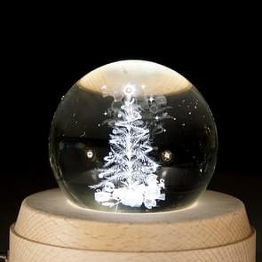 3D Word gravure kristallen bol kerstboom patroon elektronische Swivel muzikale verjaardag cadeau Home decor zonder muziek