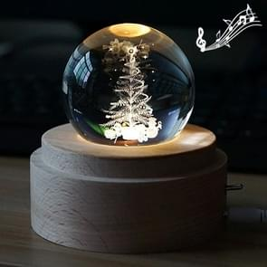 3D Word Engraving Crystal Ball Music Box Christmas Tree Pattern Electronic Swivel Musical Birthday Gift Home Decor with Music