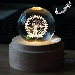 3D Word Engraving Crystal Ball Music Box Ferris Wheel Pattern Electronic Swivel Musical Birthday Gift Home Decor with Music
