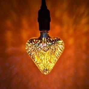 E27 4W IP65 Waterproof Heart Shape Warm White 3D Fireworks LED Bulb, 2700K 48 LEDs SMD 2835 Vintage Atmosphere Decoration Art Lamp, AC 85-265V