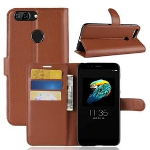 For Lenovo S5 Litchi Texture Horizontal Flip Leather Case with Holder & Card Slots & Wallet (Brown)