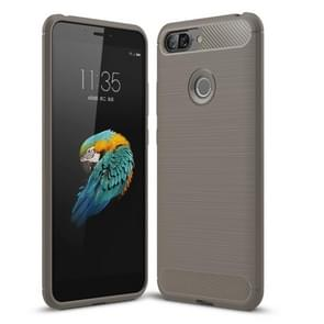 Brushed Texture Carbon Fiber Shockproof TPU Case for Lenovo S5 (Grey)