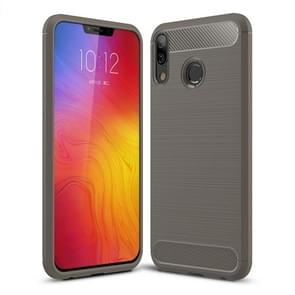 Brushed Texture Carbon Fiber Shockproof TPU Case for Lenovo Z5 (Grey)