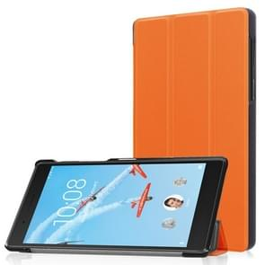 Voor Lenovo Tab 7 / Tab 4 (TB-7504F / TB-7504N / TB-7504 X) Tri-Fold Custer textuur horizontaal flip PU lederen beschermhoes met Holder(Orange)