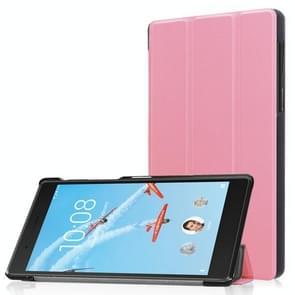 Voor Lenovo Tab 7 / Tab 4 (TB-7504F / TB-7504N / TB-7504 X) Tri-Fold Custer textuur horizontaal flip PU lederen beschermhoes met Holder(Pink)