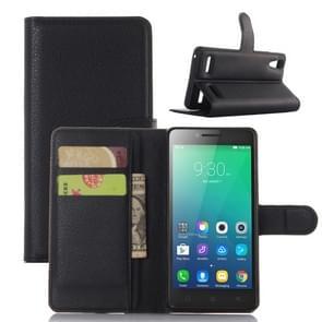 Litchi textuur horizontale Flip leren Case voor Lenovo A6010 & A6000 Plus  met portemonnee & houder & kaartgroeven (zwart)