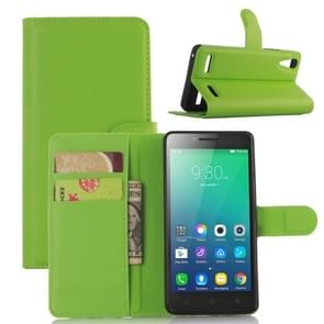 Litchi Texture Horizontal Flip Leather Case for Lenovo A6010 & A6000 Plus, with Wallet & Holder & Card Slots (Green)