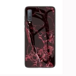 Marble Glass Protective Case for Lenovo A750(Red)