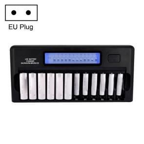 100-240V 12-sleuf batterijlader voor AA/AAA/NI-MH/NI-CD-batterij, met LCD-scherm, EU-stekker