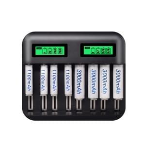 5V 2A USB 8-sleuf batterijlader voor AA & AAA & C/D-batterij, met LCD-scherm