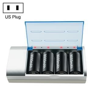 AC 100-240V 4 sleuf batterijlader voor AA & AAA & C/D grootte batterij, U.S. plug
