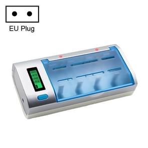 AC 100-240V 4-sleuf batterijlader voor AA & AAA & C/D-batterij  met LCD-scherm  EU-stekker