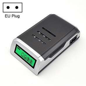 AC 100-240V 4-sleuf batterijlader voor AA & AAA-batterij  met LCD-scherm  EU-stekker