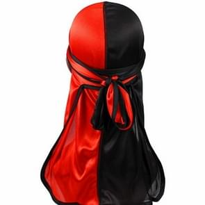 Double-coloured Silk Satin Long-tailed Pirate Hat Turban Cap Chemotherapy Cap (Black Red)