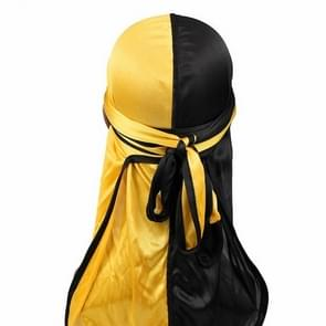 Double-coloured Silk Satin Long-tailed Pirate Hat Turban Cap Chemotherapy Cap (Black Yellow)