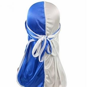 Double-coloured Silk Satin Long-tailed Pirate Hat Turban Cap Chemotherapy Cap (White Blue)