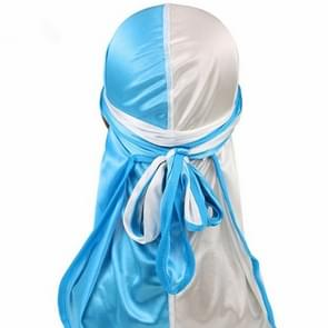 Double-coloured Silk Satin Long-tailed Pirate Hat Turban Cap Chemotherapy Cap (White + Baby Blue)