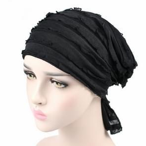 Muslim Stacking Cap Chiffon Fold Turban Cap Chemotherapy Cap (Black)