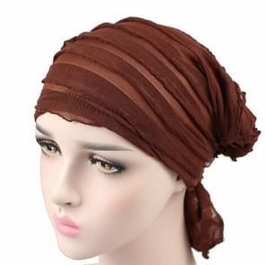 Muslim Stacking Cap Chiffon Fold Turban Cap Chemotherapy Cap (Coffee)