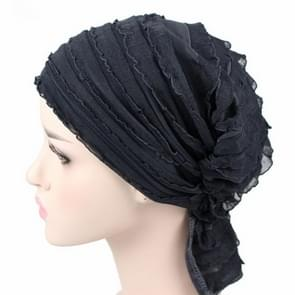 Muslim Stacking Cap Chiffon Fold Turban Cap Chemotherapy Cap (Grey)