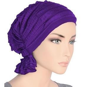Muslim Stacking Cap Chiffon Fold Turban Cap Chemotherapy Cap (Purple)