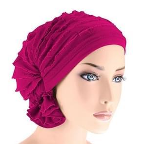 Moslim stapelen GLB chiffon fold tulband GLB chemotherapie GLB (Rose rood)