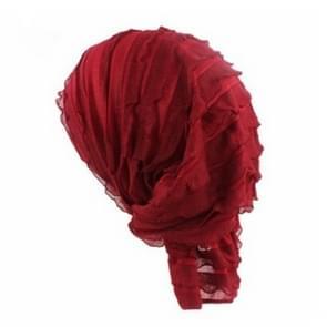 Moslim stapelen GLB chiffon fold tulband GLB chemotherapie GLB (wijn rood)