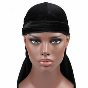 Velvet Turban Cap Long-tailed Pirate Hat Chemotherapy Cap (Black)