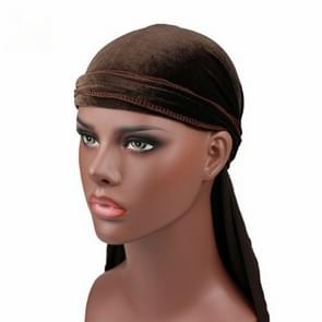 Velvet Turban Cap Long-tailed Pirate Hat Chemotherapy Cap (Coffee)