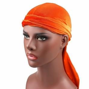 Fluweel tulband cap lange staart piraat Hat chemotherapie Cap (oranje)