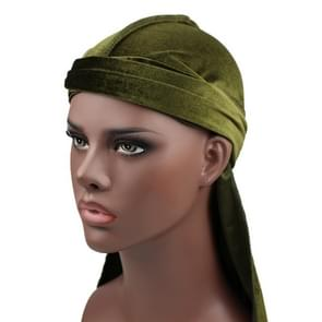 Velvet Turban Cap Long-tailed Pirate Hat Chemotherapy Cap (Grass Green)