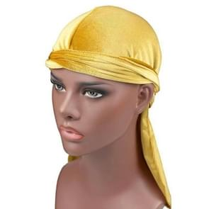 Velvet Turban Cap Long-tailed Pirate Hat Chemotherapy Cap (Gold)