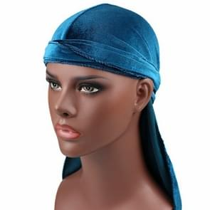 Velvet Turban Cap Long-tailed Pirate Hat Chemotherapy Cap (Peacock Blue)