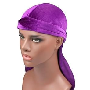 Velvet Turban Cap Long-tailed Pirate Hat Chemotherapy Cap (Purple)