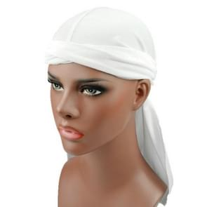 Velvet Turban Cap Long-tailed Pirate Hat Chemotherapy Cap (White)