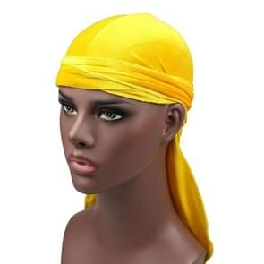 Velvet Turban Cap Long-tailed Pirate Hat Chemotherapy Cap (Yellow)