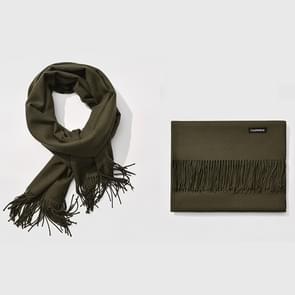 Herfst- en winterseizoen klassieke effen kleur imitatie kasjmier sjaal  grootte: 60 * 200cm (leger-groen)
