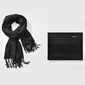 Herfst- en winterseizoen klassieke effen kleur imitatie kasjmier sjaal  grootte: 60 * 200cm(Black)