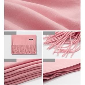 Herfst- en winterseizoen klassieke effen kleur imitatie kasjmier sjaal  grootte: 60 * 200cm (donker roze)