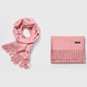 Herfst- en winterseizoen klassieke effen kleur imitatie kasjmier sjaal  grootte: 60 * 200cm (lichtroze)