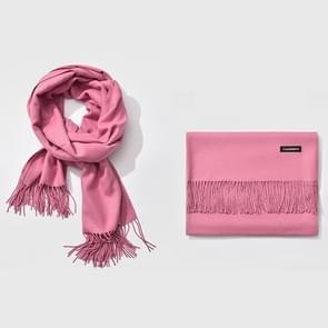 Herfst- en winterseizoen klassieke effen kleur imitatie kasjmier sjaal  grootte: 60 * 200cm (Licht Magenta)