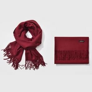 Herfst- en winterseizoen klassieke effen kleur imitatie kasjmier sjaal  grootte: 60 * 200cm (Wind rood)