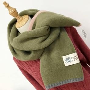 Effen kleur dik Warm gebreid wollen sjaal  grootte: 40 * 20 5 cm (leger-groen)