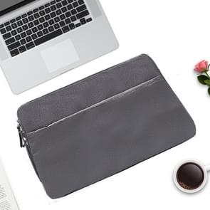 Diamond Pattern Portable Waterproof Sleeve Case Double Zipper Briefcase Laptop Carrying Bag for 11-12 inch Laptops (Grey)