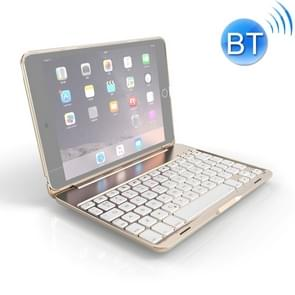 F8SM+ For iPad mini 4 Laptop Version Colorful Backlit Aluminum Alloy Bluetooth Keyboard Protective Cover (Gold)