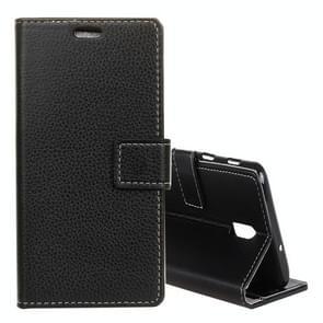 Litchi textuur horizontale Flip leren Case voor OnePlus 6T  met houder & kaartsleuven & Wallet(Black)